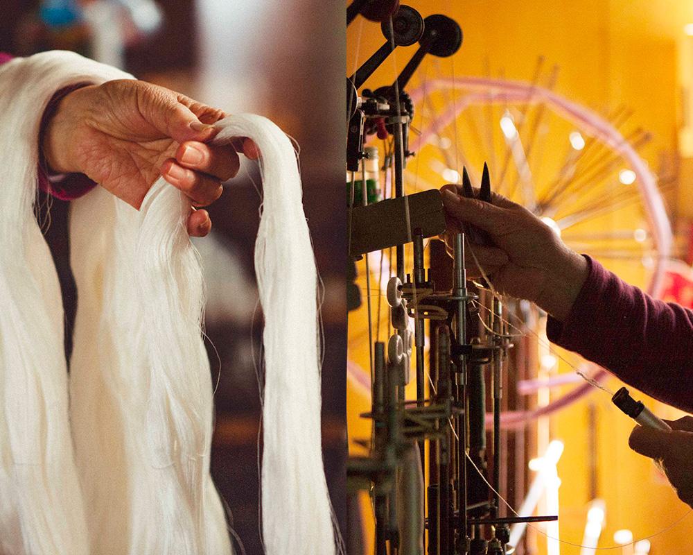 精錬前の糸と精錬後の糸